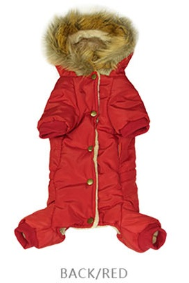 Vinterfodrad overall röd med päls