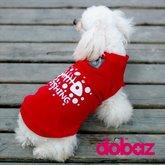 Hund t-shirt Fishing red